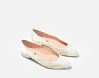 Vanda Pointy Toe Flats,  Low Heel Wedding Shoes, Lace Wedding Shoes, Lace Peep Toe Pumps, Lace Bridal Flats, Lace Evening Heels