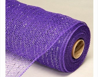 Decorative Poly Mesh Roll With Matching Metallic Stripes PURPLE