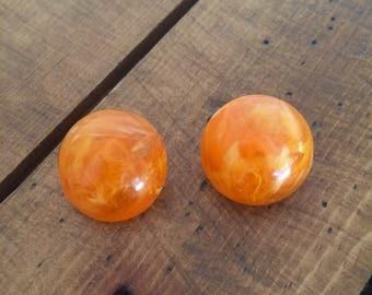 Vintage Orange Swirl Cabochon Clip On Earrings