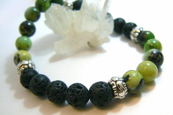 Lava stretch bracelet- Chrysoprase gemstone bracelet- Green black stone bracelet- boho jewelry- Fashion accessory-Women bracelet gift