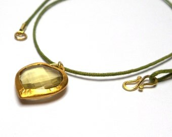 Citrine Pendant - Gold Pendant - 24 K Gold Pendant - Gold Necklace - Free Shipping!!!