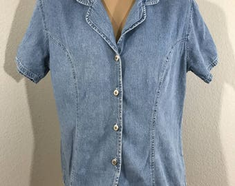 Vintage 80's Denim Button Down Top Front SOHO COMPAGNIE Size Large