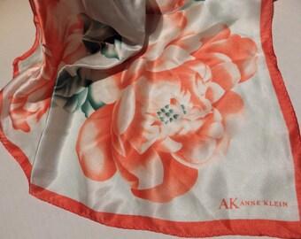 "1970s Vintage Silk Scarf AK Anne Klein Square Coral Floral Peonies on White 21"""