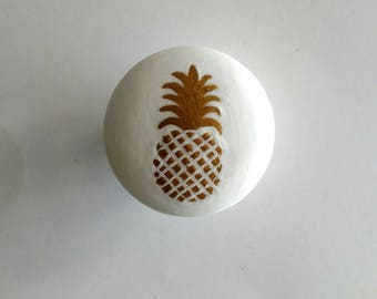Sale - Gold Pineapple and White Hand Painted Drawer Knob, Ready to Ship, Pineapple Drawer Pull