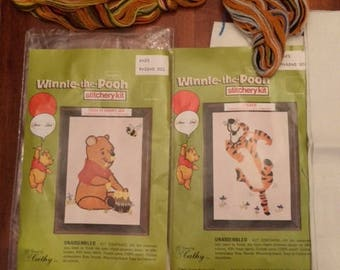 Vintage Opened Sears Winnie the Pooh Stitchery Kit Tigger Pooh Hunny Jar Extra Patterns Disney Needlepoint