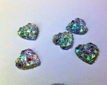 6 piece-14mm Sparkling Crystal Look Heart Shaped Resin Faceted Flatback Buttons