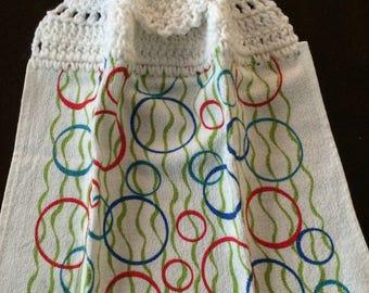 Vibrant Circles Crochet Top Kitchen Towel  (R1)