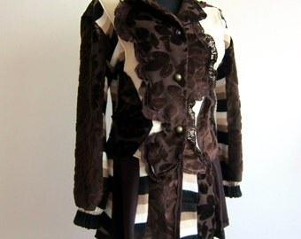 Brown Tapestry Coat Sweater Coat Recycled Clothing Patchwork Coat Applique Coat Bohemian Coat Flower Coat Extravagant Coat Upcycled Coat