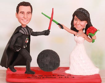 Personalised wedding cake topper - Star War Theme Darth Vader Cake Toppers  (Free shipping)