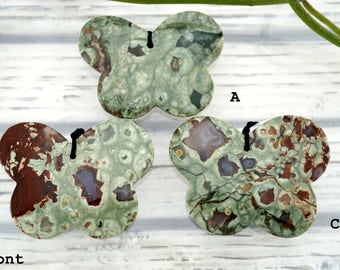 Rainforest Rhyolite butterfly pendants (ETP00278)