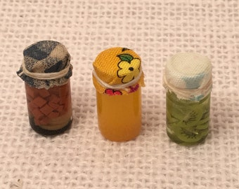 Dollhouse miniature handmade glass jars food set of 3 Fruits and veggies in jar #6