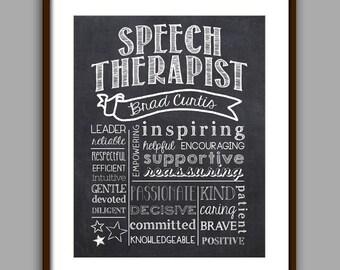 Speech Therapist Gift, Speech Therapist Chalkboard Style Printable, SLP Christmas Gift, Speech Therapist Thank You, SLP Gift Printable