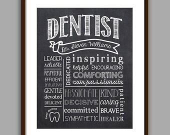 Dentist Gift - Dentist Graduate Gift - Dentist Appreciation Gift - Thank you Dentist - CHALKBOARD Style Printable