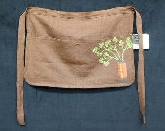 100% linen half-apron for gardening, cooking, and looking good while working