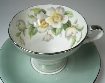 Green Aynsley Tea Cup and Saucer,  Aynsley Dogwood tea cup and saucer,  Corset Shape Tea cup and saucer with Dogwood Flowers