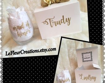 Will You Be My Bridesmaid/I Can't Say I Do Without You/ Will You Be My Maid of Honor Proposal Boxes--Completely customizable (Gold)