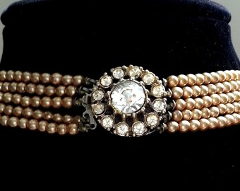 Champagne Faux Glass Pearl Necklace, Rhinestone Clasp, Vintage Costume Jewelry