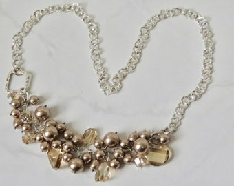 Sterling Silver Necklace Hammered Chain Swarovski Crystals and Pearls Hand Crafted One of a Kind OOAK Original Design