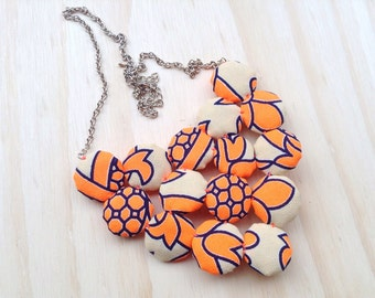 Neon Orange Retro Cluster Bib Necklace Free pair of matching yoyo stud earrings