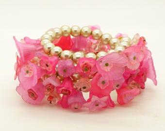 Pink Flower Glass Pearl Memory Coil Bracelet