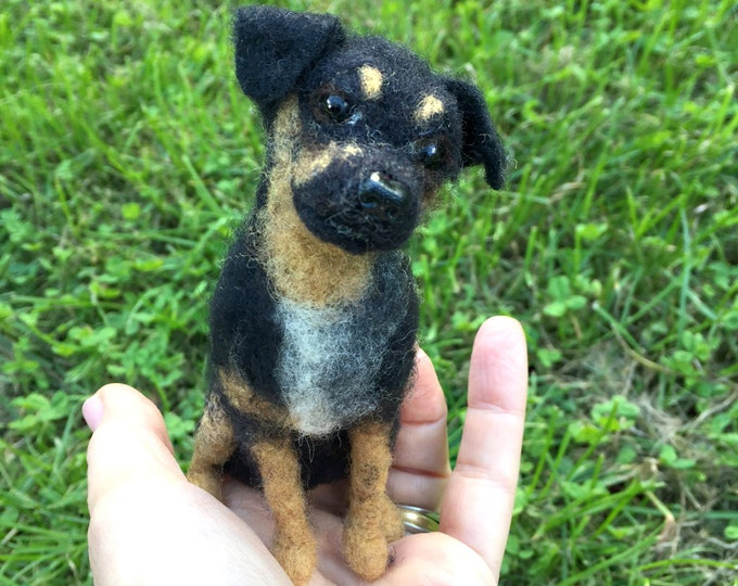 Featured listing image: Custom Miniature Needle Felted Dog - Pet Portrait Sculpture