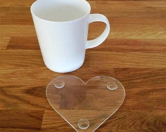 Heart Shaped Clear Gloss Finish Acrylic Coasters