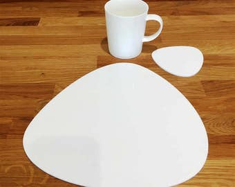 Pebble Shaped Placemats or Placemats & Coasters - in White Gloss Finish Acrylic 3mm