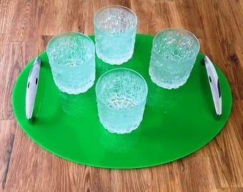 "Oval Serving Tray with Chrome Handles in Bright Green Gloss Finish 3mm Thick & Rubber Feet. Size 40cm x 30cm, 16"" x 12"""