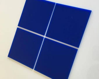 "Blue Gloss Acrylic Square Crafting Mosaic & Wall Tiles, Sizes: 1cm to 20cm - 1"" to 7.9"""
