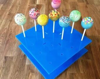 """Square Bright Blue Gloss Acrylic Cake Pop Stands - 21cm x 21cm 8"""" (16 cakepops) or 30cm x 30cm 12"""" (32 cakepops)"""