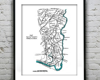 Bucks County PA Pennsylvania Vintage Map Drawing