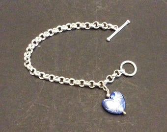 Beautiful Silver 925 Bracelet with glass Heart  Italy Toggle closure