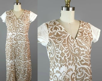Gold Embroidered Indian Tunic / Elegant White Linen Kurta / Fitted Knee Length Kurti