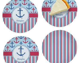 Anchors & Stripes Set of Appetizer / Dessert Plates (Personalized)