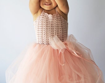 Girl  Tutu Dress. Baby Flower Girl Tulle Dress with Lace Stretch Crochet Bodice.