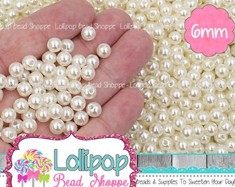 6mm IVORY Pearl Beads Cream Pearls Acrylic Round Beads Faux Pearl Spacers 100 or 200 Spacer Beads Ball Beads Plastic Bubblegum Beads