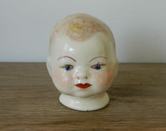 Vintage Ceramic Handmade Doll Head.