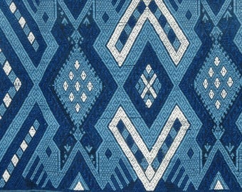 Indigo blue woven tribal blanket, Laos hill tribe textile, handwoven ethnic boho tapestry natural vegetable dyes, ethnic home decor. TE1