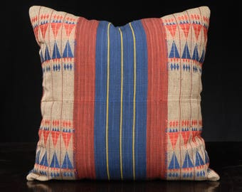 Naga tribal textile cushion, ethnic hand woven cotton blue red tan India fabric throw pillow 18 x 18 inch square decorative pillow. TT6