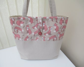 Tote bag/market bag/shopper/everyday work tote/ linen and cotton tote