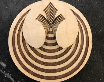 "Star Wars Rebel Alliance Symbol: Wood (4"" x 4"")"
