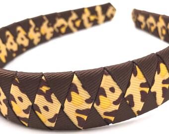Woven Headband Ribbon Brown and Leopard Print