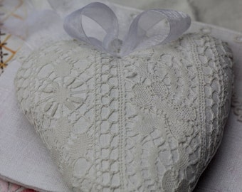 hanging heart pillow lace old Ribbon