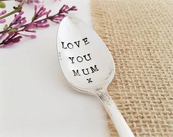Love You Mum. Hand Stamped Vintage Teaspoon.