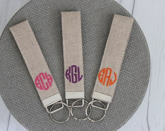 Monogrammed Wristlet Key Fob - Bridesmaid Gift  - Graduation Gift - Sorority Gift - Stocking Stuffer - Gift for her - Mothers Day
