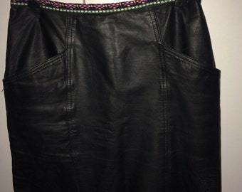 Black leather skirt size small