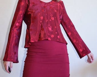Silky Rose Flared Sleeve Top