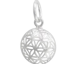 Domed Flower of Life Filagree Sterling Silver .925 Charm Bright Silver Domed 12.5mm