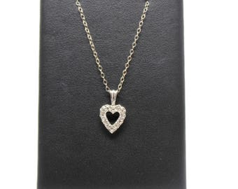 heart Pendant Diamond 14k White Gold With Chain
