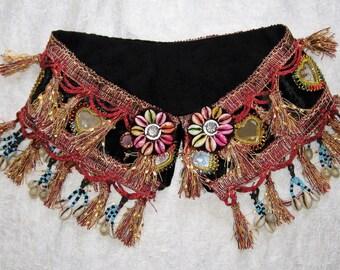 Tribal gypsy belt,Belly dance belt,Tribal belly dance belt,Tribal fusion ATS belt,Tribal tassel belt,Belly dancing,Mirror belt